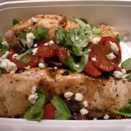 Chicken With Tomatos, Basil and Feta