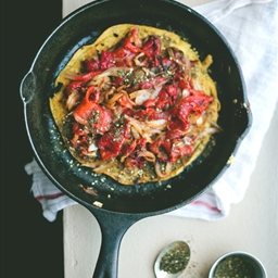 chickpea skillet cake with za'atar, caramelized onions, and roasted red pep