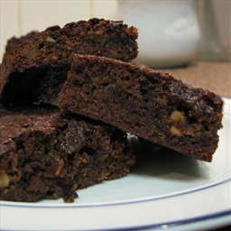 Chocolate mocha brownies with walnuts