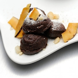 Chocolate Zeppole with Macadamia Nuts and Passion Fruit Anglaise