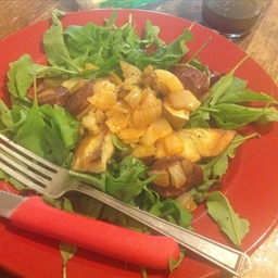 Chorizo and roasted potato arugula salad