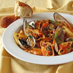 Chorizo & Clam Stuffed Pasta Shells in Cioppino Sauce