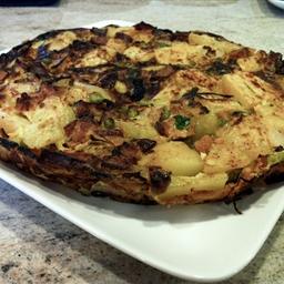 Chorizo, potato and pea tortilla
