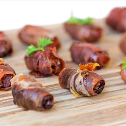 Chorizo Stuffed Prosciutto Wrapped Dates with Arbequina Olive Tapenade