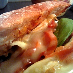 Ciabatta with chorizo, brie and sundried tomatoes
