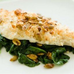 Coconut Crusted Haddock with Curried Pumpkin Seeds
