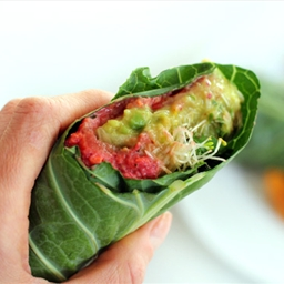 Collard Wraps with Raw Sunflower Pate