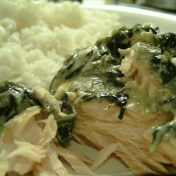 Creamy salmon with baby spinach