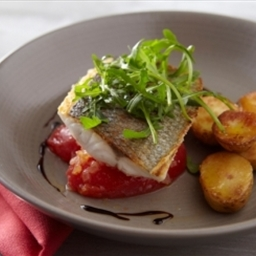 Crisp Fillet of Sea Bass with Tomatoes, Basil, Rocket & New Potato Salad
