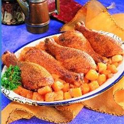 Curried Chicken Drumsticks on Gingered Vegetables