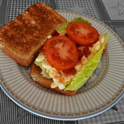 Egg Salad, Bacon, Lettuce and Tomato Sandwiches