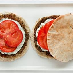 Falafel-Style Lentil Burgers with Feta Sauce