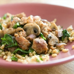 Farro and Herb Pilaf with Sausage, Mushrooms and Spinach