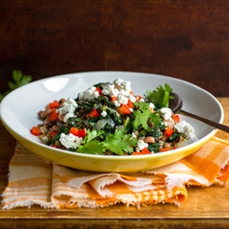 Farro or Bulgur With Black-Eyed Peas, Chard and Feta