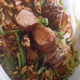 Five spice pork with shiitake rice