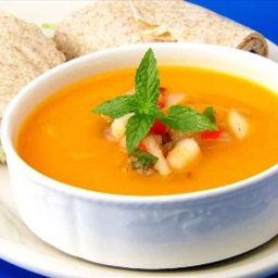 Recipes Course Soups, Stews and Chili Vegetarian Golden Mango Gazpacho