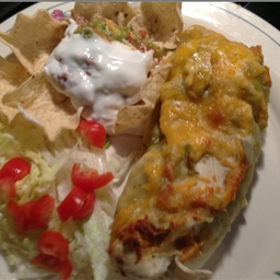 Green Chili Burritos Enchilada Style