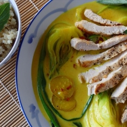 Grilled chicken with bok choy in coconut milk