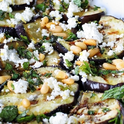 Grilled Eggplant Salad with Feta, Pine Nuts & Garlicky Yogurt Dressing