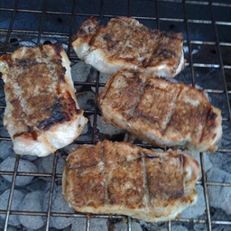 Grilled Jerk Pork Chops with Jerk Compound Butter
