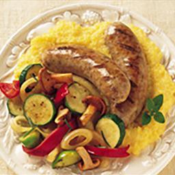 Grilled Sausage with Polenta & Vegetables
