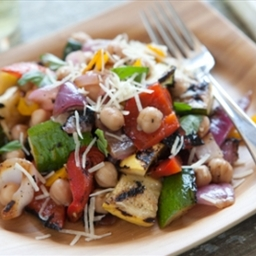 Grilled Summer Vegetable Salad with Chickpeas and Basil