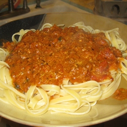 Ground Beef And Sausage With Pasta In Tomato Cream Sauce