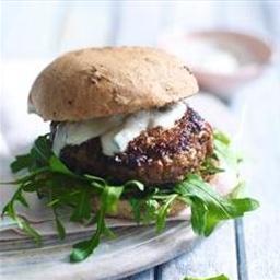 Harissa-spiced lamb burgers