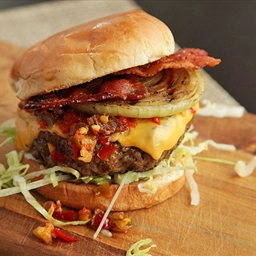 Hot and Smoky Cheeseburgers with Bacon and Pickled Cherry Pepper Relish