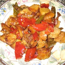 Hot Sausage, Vinegar Peppers and Potatoes (by Marco Anthony Stanco)