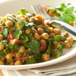 Indian Spiced Garbanzos and Greens