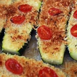Italian Style Baked Zucchini with Panko, Tomatoes and Parmesan
