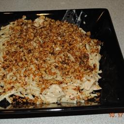 Jodie's Chicken Carbonara with bread crumbs