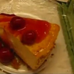 Labor Day Cheesecake with Cherry Pie Topping