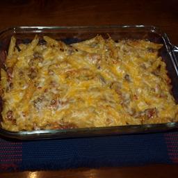 Lasagna-Style Baked Pennette with Meat Sauce