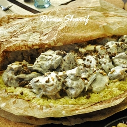 Mansaf: Marinated lamb with yogurt and spices
