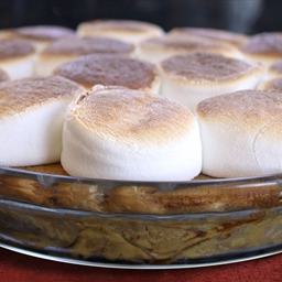 Marshmallow Topped Sweet Potato Pie with Cinnamon Roll Crust