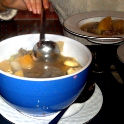 Meat Soup with onion sauce and dumplings