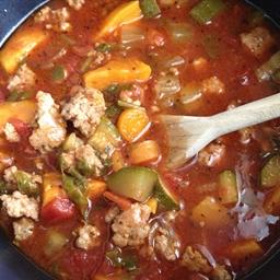 Minestrone Soup with Spicy Pork (Paleo/Gluten free)