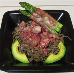 Mixed Seafood with Raspberries over Soba Noodles