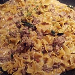 Noodles and Ground Beef Alfredo Helper