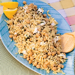 Orzo with Garbanzo Beans, Goat Cheese, and Oregano