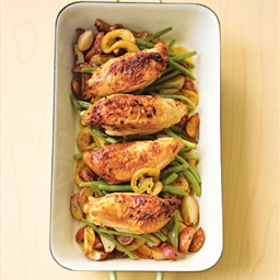 Pan Roasted Chicken with Lemon, Garlic, Green Beans and Red Potatoes