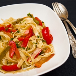 Pasta with Red Peppers, Anchovies, and Artichokes