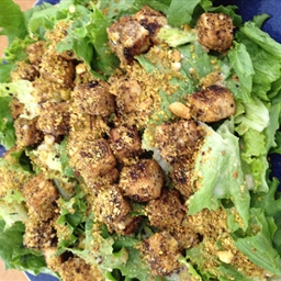 Pistachio-Crusted Tofu Salad with Lemon-Tahini Dressing