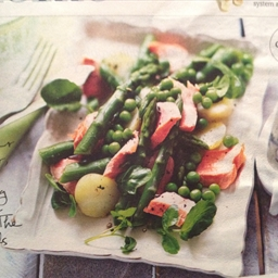 Poached Salmon With Asparagus, Peas And Lemon Crème Fraîche