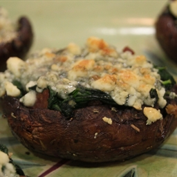 Portobellini Mushrooms with Spinach and Blue Cheese