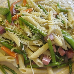 Primavera with Prosciutto, Asparagus and Carrots