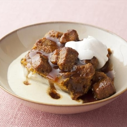 Pumpkin Bread Pudding with Spicy Caramel Apple Sauce and Vanilla Bean Creme