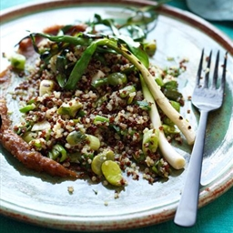 Quinoa Salad with Grilled Scallions, Favas and Dates